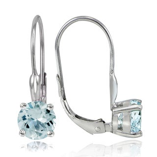 Glitzy Rocks Sterling Silver 1.6ct TGW Aquamarine Leverback Earrings
