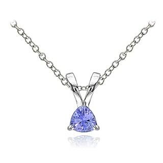 Glitzy Rocks Sterling Silver Tanzanite Trillion-Cut Solitaire Necklace