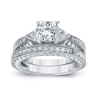 Auriya 14k White Gold 1 1/3ct TDW Certified Princess-cut Diamond Bridal Ring Set (I-J, I1-I2)