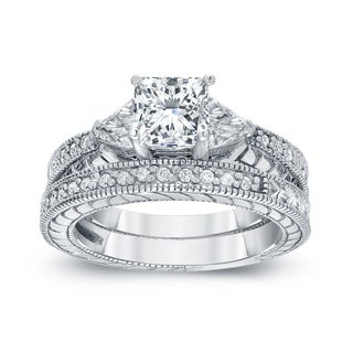 Auriya 14k White Gold 1 1/3ct TDW Certified Princess-cut Diamond Bridal Ring Set