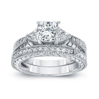 Auriya Vintage 1 1/3ctw Princess and Trillion Cut 3-Stone Diamond Engagement Ring Set 14k Gold Certified