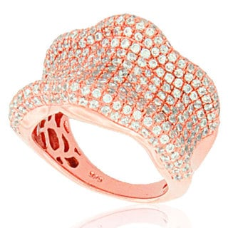 Suzy Levian Cubic Zirconia Rose plated Sterling Silver Wavy Curved Ring