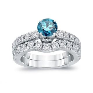Auriya 14k White Gold 1 1/2ct TDW Round Cut Blue Diamond Bridal Ring Set (Blue, SI2-SI3)