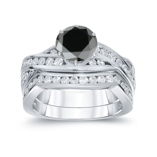 Auriya 14k White Gold 2ct TDW Round Cut Black Diamond Bridal Ring Set (Black, SI2-SI3)