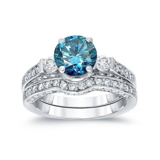 Auriya 14k White Gold 2ct TDW 3-Stone Round Blue Diamond Engagement Ring Bridal Set