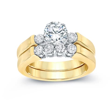 Auriya 14k Gold 1 1/4ctw 3-Stone Diamond Engagement Ring Set 14k Two-Tone Gold Certified
