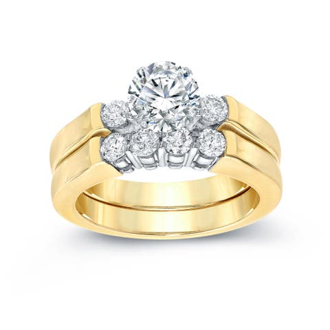 Auriya 14k Gold 1 1/2ctw 3-Stone Diamond Engagement Ring Set 14k Two-Tone Gold Certified