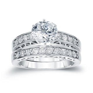 Auriya 14k White Gold 1ct TDW Round Diamond Bridal Ring Set (H-I, SI2-SI3)