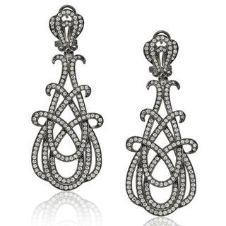 Suzy Levian Blackened Sterling Silver Cubic Zirconia Gladiator Twist Earrings