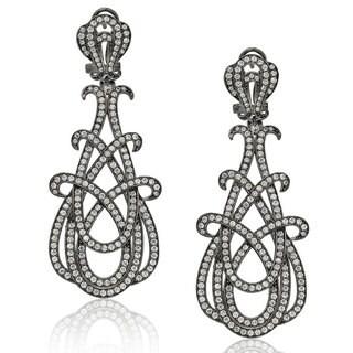 Suzy Levian Blackened Sterling Silver Cubic Zirconia Gladiator Twist Earrings