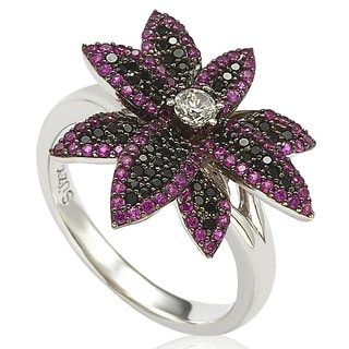 Suzy Levian Sterling Silver Cubic Zirconia Black and Pink Flower Pinkie Ring