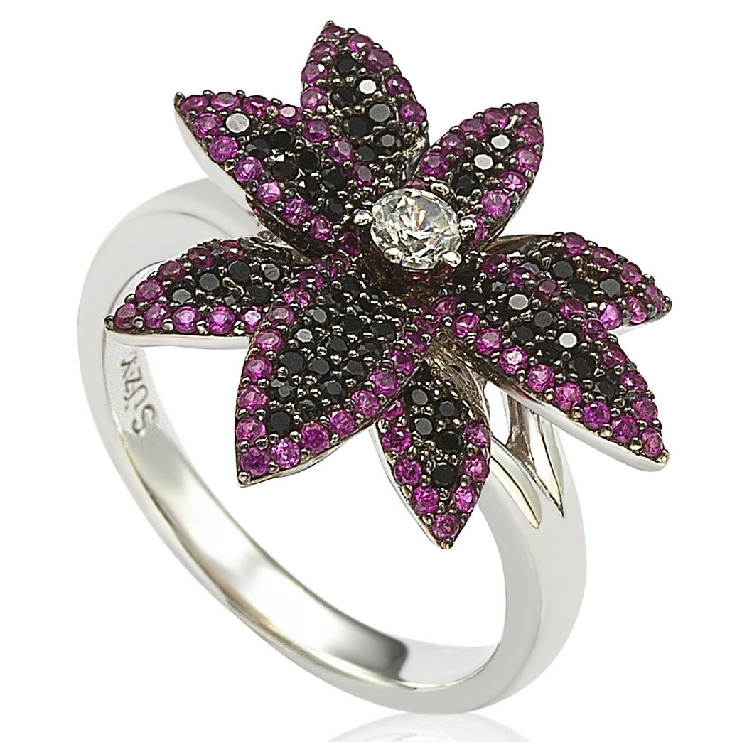 Suzy Levian Sterling Silver Cubic Zirconia Black and Pink...