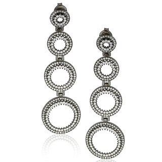 Suzy Levian Blackened Sterling Silver Cubic Zirconia Graduating Circle Earrings