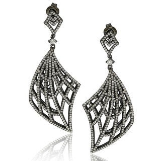 Suzy Levian Blackened Sterling Silver Cubic Zirconia Gladiator Drop Earrings