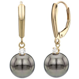 DaVonna 14k Yellow Gold Black Tahitian Pearl and 0.10ct Diamond Dangle Earring