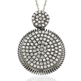 Suzy Levian Pave Cubic Zirconia Sterling Silver White Circle Pendant