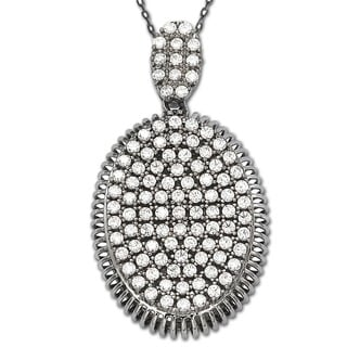 Suzy Levian Cubic Zirconia Sterling Silver White Oval Pendant