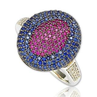 Suzy Levian Cubic Zirconia Sterling Silver Multi-Color American Pride Pave Ring - Blue Purple