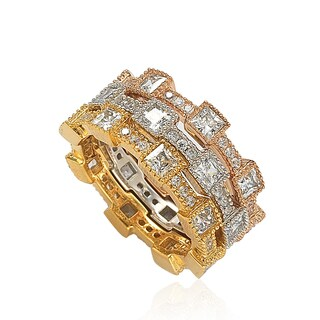 Suzy Levian Stackable Tri-Tone Sterling Silver Cubic Zirconia Square Rings
