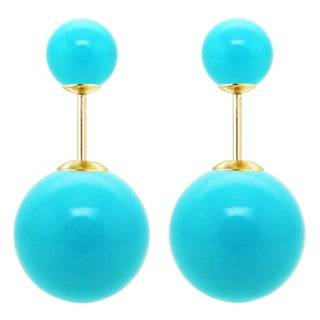 DaVonna 14k Yellow Gold Shell Pearl Front and Back Stud Earring (16mm, 8mm) (3 options available)