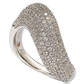 Suzy Levian Cubic Zirconia Sterling Silver White Pave Petite Wavy Ring