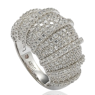 Suzy Levian Cubic Zirconia Sterling Silver White Pave 3D Striped Ring