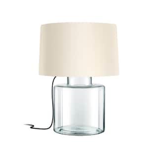 Sonneman Lighting Grasso Clear Table Lamp, Black Silk Cord