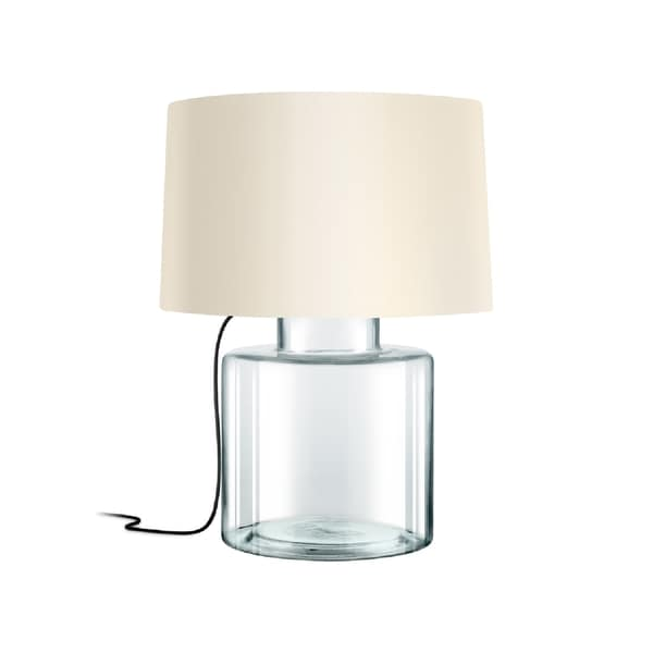 Sonneman Lighting Grasso Clear Table Lamp, Black Silk Cord