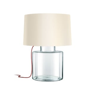 Sonneman Lighting Grasso Clear Table Lamp, Red Silk Cord