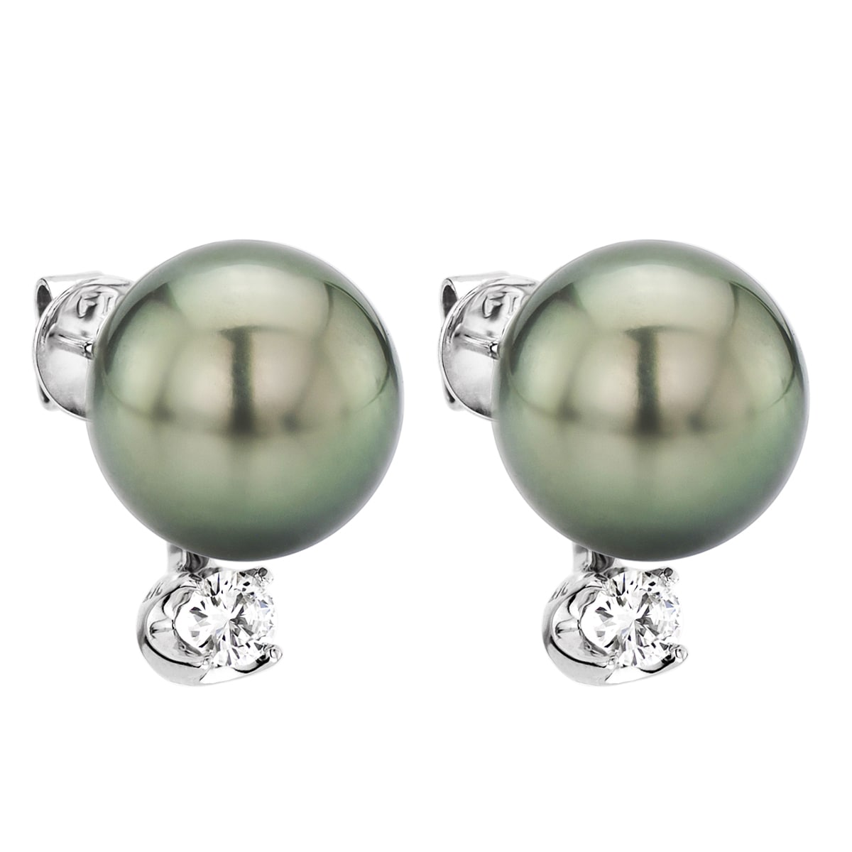 14K Yellow Gold 0.20 Ct Round Diamond and Cultured Freshwater Pearl Earrings