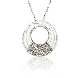 Suzy Levian Cubic Zirconia Sterling Silver Circle Loop Pendant Necklace