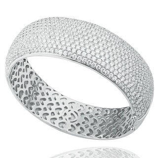 Suzy Levian Cubic Zirconia Sterling Silver White Pave Wide Bangle