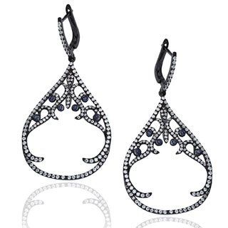 Suzy Levian Sterling Silver Pave Cubic Zirconia Dangle Earrings - Blue