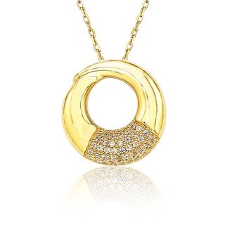 Suzy Levian Cubic Zirconia Gold Over Sterling Silver Circle Loop Pendant Necklace