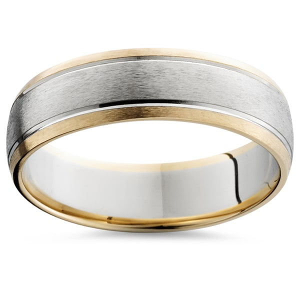 Bliss Men's 14k Two-Tone Gold 6mm Brushed Wedding Band. Opens flyout.