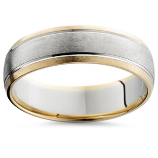 Bliss Men's 14k Two-Tone Gold 6mm Brushed Wedding Band