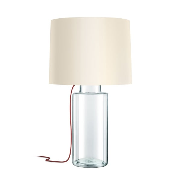 Sonneman Lighting Vaso Clear Table Lamp, Red Silk Cord