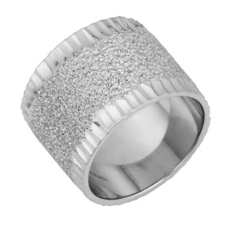 Argento Italia Rhodium Plated Sterling Silver Sandstone Finish Bold Ring