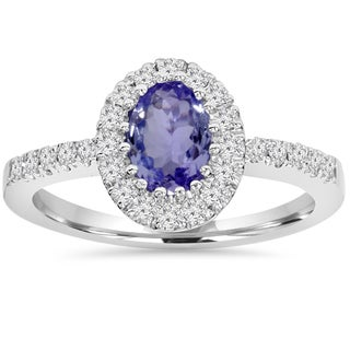 Bliss 10K White Gold 1.00 CT Tanzanite Halo Diamond Ring (I-J,I2-I3)
