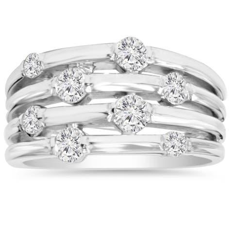 14k White Gold 1ct TDW Journey Diamond Right Hand Ring