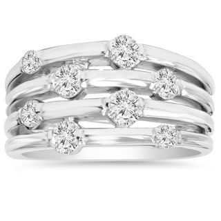14k White Gold 1 ct TDW Journey Diamond Right Hand Ring