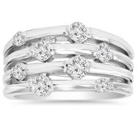 14k White Gold 1ct TDW Journey Diamond Right Hand Ring