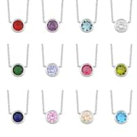 Fremada Rhodium Plated Sterling Silver Glass Solitaire Birthstone Necklace (18 inches)