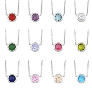 Fremada Rhodium Plated Sterling Silver Glass Solitaire Birthstone Necklace (18 inches) (More options available)
