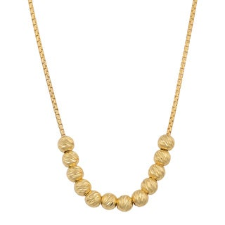 Fremada 18k Yellow Gold Over Sterling Silver Diamond-cut Beads Necklace