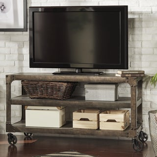 TRIBECCA HOME Galena Industrial Modern Rustic Iron Console Sofa Table TV Stand