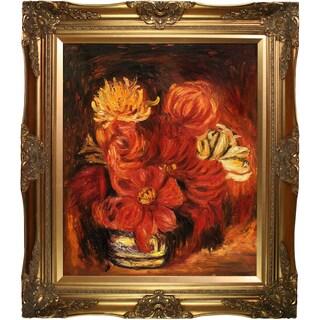 Pierre-Auguste Renoir 'Dahlias, 1890' Hand Painted Framed Canvas Art