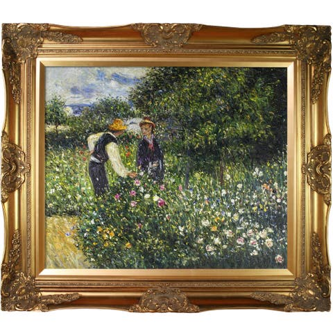 Pierre-Auguste Renoir 'Picking Flowers, 1875' Hand Painted Framed Canvas Art