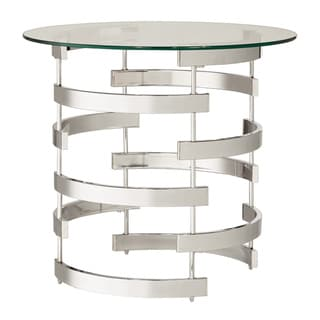 Nova Round Glass Top Vortex Iron Base Accent Table by INSPIRE Q