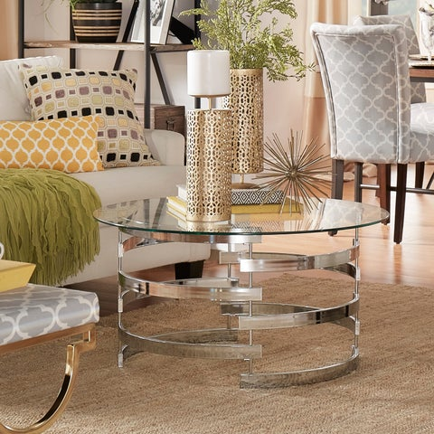Nova Round Glass Top Vortex Iron Base Accent Table by iNSPIRE Q Bold